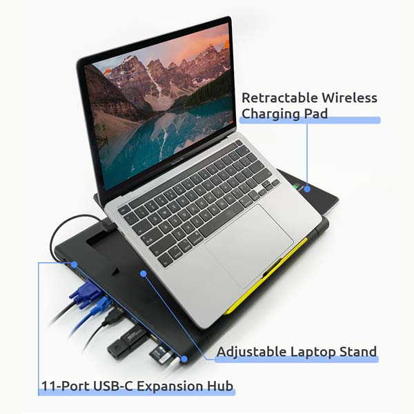 TopWork Laptop Stand with USB-C Hub and Wireless Charger