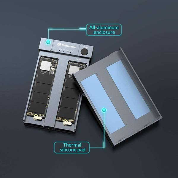 Yottamaster HC1 M.2 PCIe NVMe Dual-Bay SSD Enclosure and Duplicator