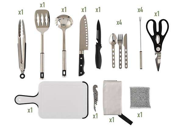 27+ Piece Camping Utensil Kit for Camping, Hiking, BBQ and More