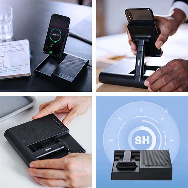 DOSS FreeTalk Bluetooth Speakerphone with Phone Stand and Wireless Charger