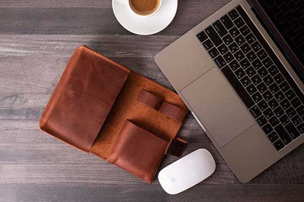 Handmade Customizable Leather Travel Tech Organizer