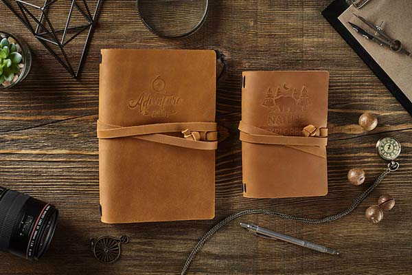 Handmade Personalized Leather Travel Journal with Strap