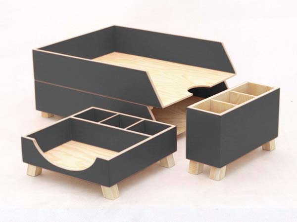 Handmade Wood Desk Organizer Set with Pen Holder