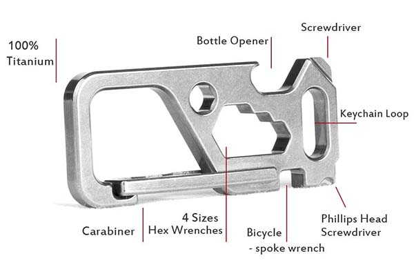 TISUR Titanium Carabiner Keychain with Bottle Opener, Wrenches and More Tools