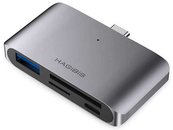 Hagibis Compact 2-In-1 USB-C Card Reader and Hub with MicroSD/ SD Slots