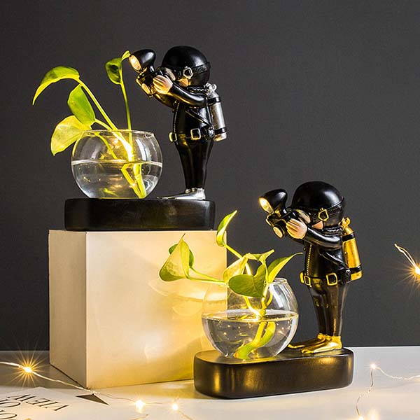 Handmade Astronaut and Diver Flower Glass Vases with LED Lights