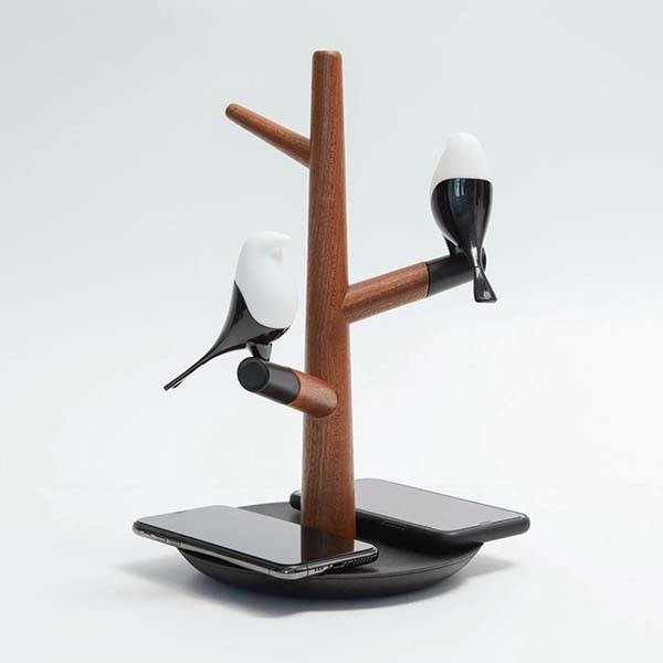 Handmade Bedside Birds LED Accent Lamp and Wireless Charger