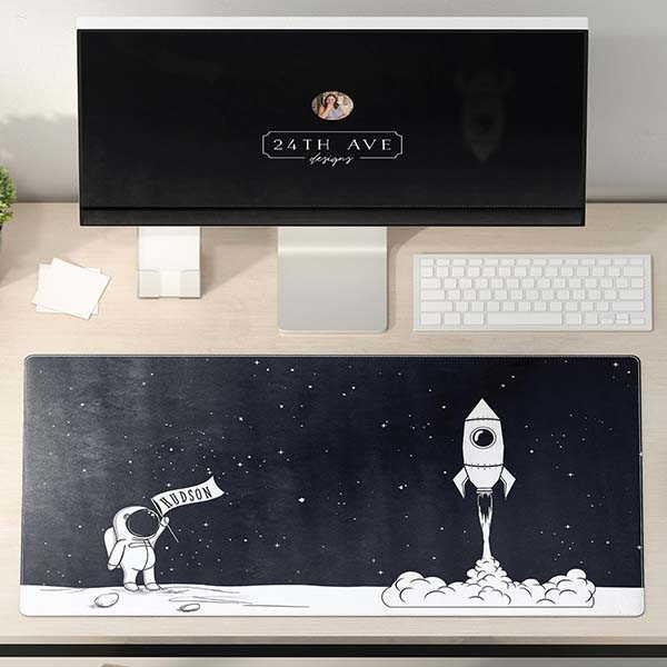 Handmade Kids Personalized Desk Mat with Astronaut Design