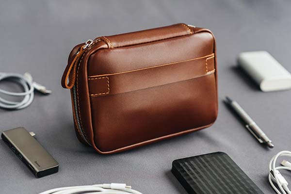 Handmade Leather Accessory Bag with Optional Personalization