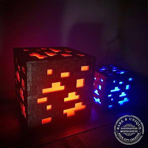 Handmade Minecraft Ore LED Night Light
