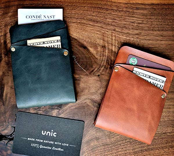 Handmade Slim Leather Wallet with Personalization Option