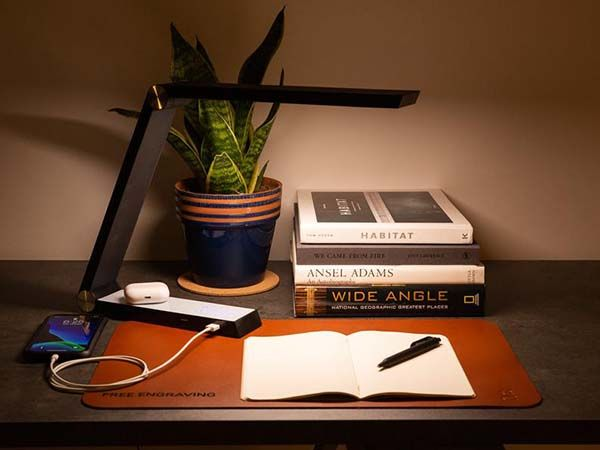 Handmade Smart Triangle Aluminum LED Desk Lamp with Wireless Charger