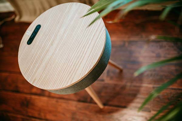 Handmade Wood End Table with Bluetooth Speaker and Wireless Charger