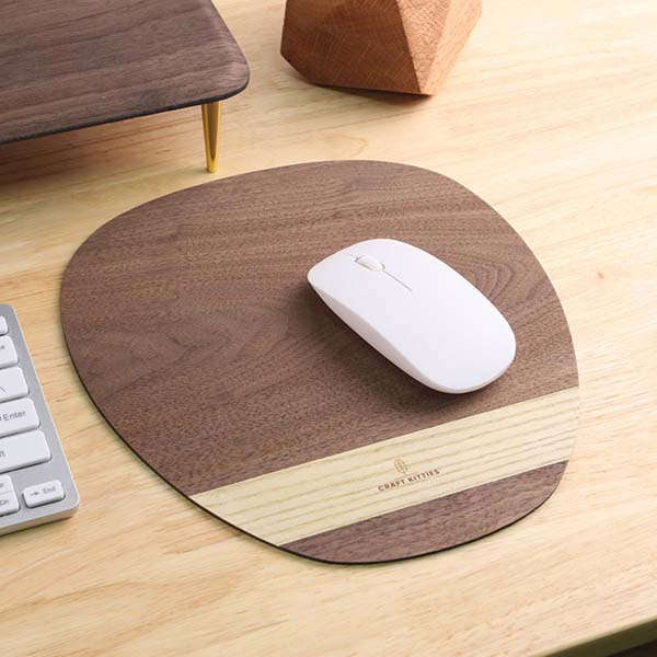 Handmade Wooden Mouse Pad with Two-Tone Deign