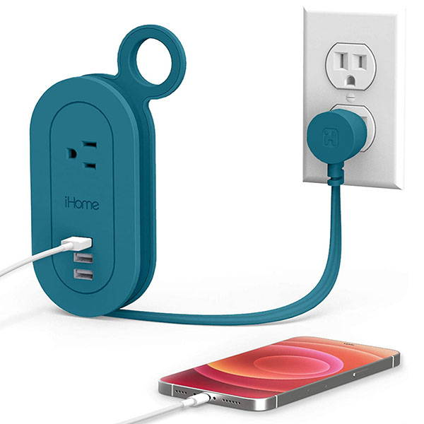 iHome Travel Reach Travel Power Strip with USB Ports