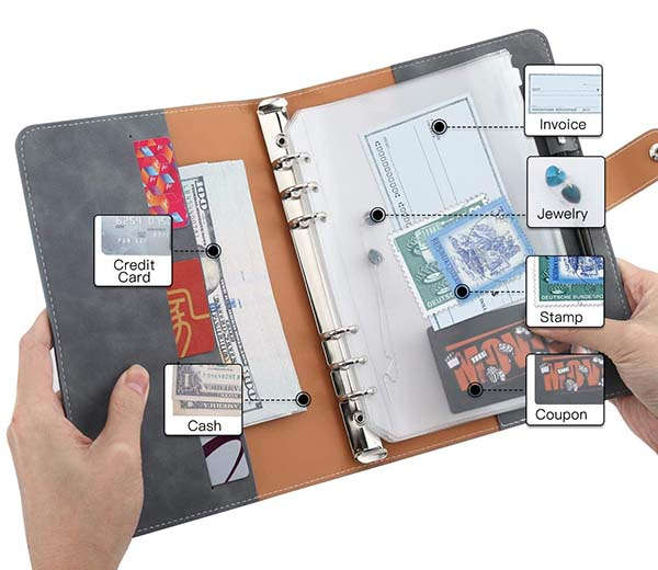 Moko 6-Ring Leather Binder Notebook with Binder Pockets and Labels
