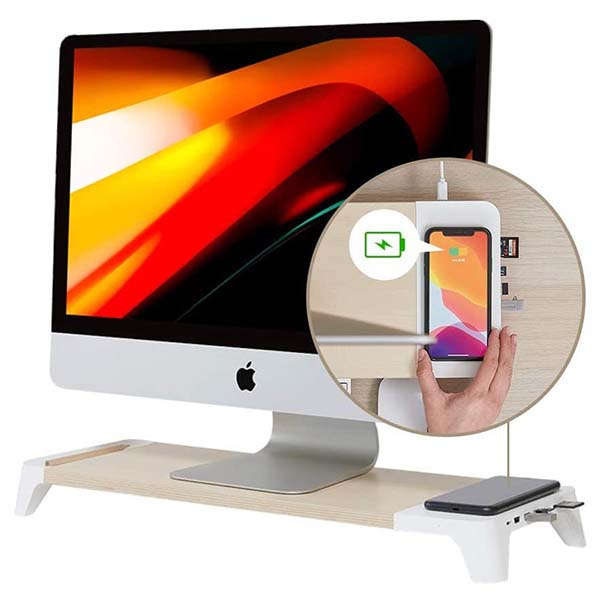 Pout Eyes8 Wooden Monitor Stand with Wireless Charger and USB Hub