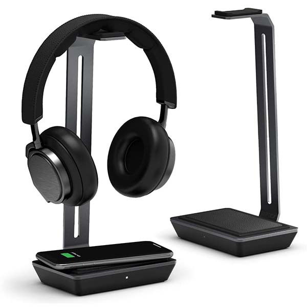 Raptic Rise Headphones Stand with Wireless Charging Pad and USB Port