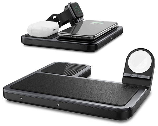Raptic Trio 3-In-1 Wireless Charging Dock for iPhone, Apple Watch and AirPods
