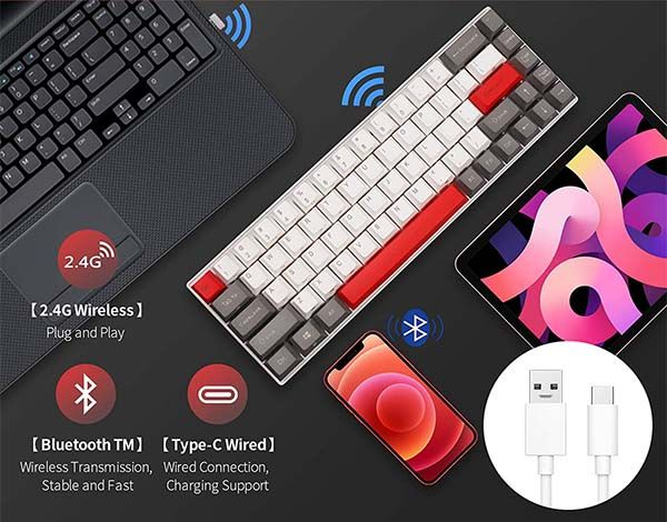 RK Royal Kludge RK G68 60% Wireless Mechanical Keyboard with Both Bluetooth and 2.4Ghz Connectivity