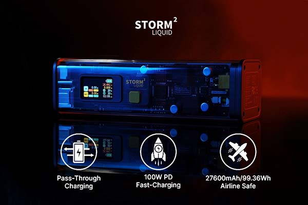 Storm 2 EDC Power Bank with See-Through Design and Control Panel