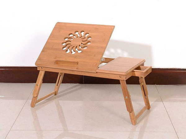 The Handmade Foldable Wooden Lap Desk with Adjustable Laptop Tray and Hidden Drawer