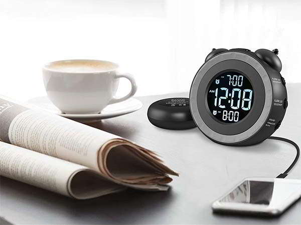 USCCE UE188 Dual Alarm Clock with Bed Shaker, USB Port and More
