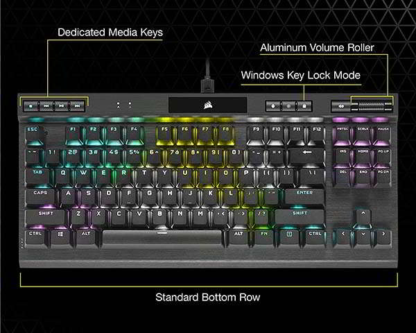 Corsair K70 RGB TKL Mechanical Gaming Keyboard with Detachable USB-C Cable