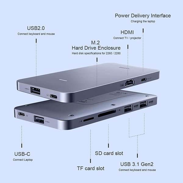 Hagibis Portable USB-C Hub with M.2 NVMe SSD Enclosure