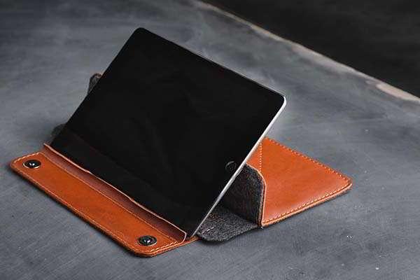 Handmade Customizable iPad Leather Sleeve with Wool Lining
