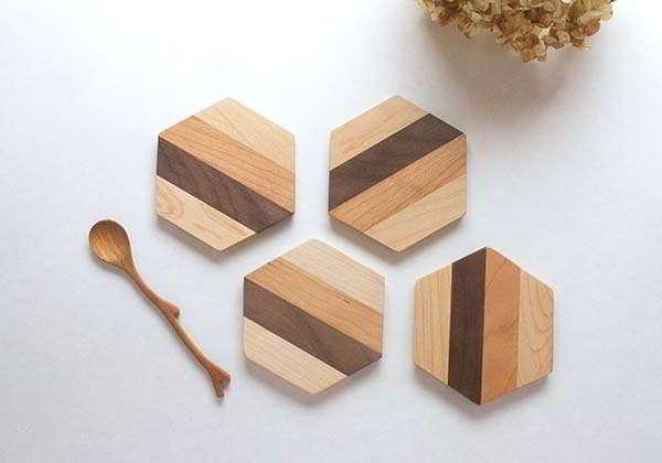 Handmade Hexagon Wooden Coaster Set