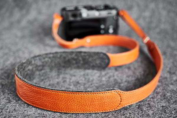 Handmade Leather Camera Strap with Wool Felt Lining