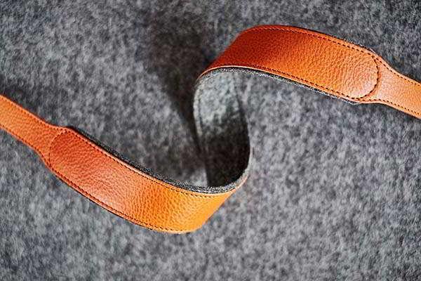 Handmade Leather Camera Strap with Wool Felt Lining
