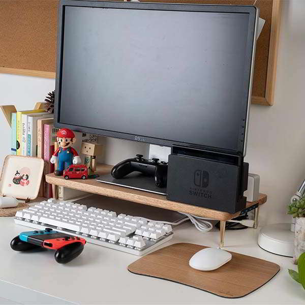 Handmade Modern Wooden Monitor Stand with USB Hub