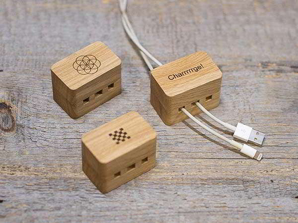 Handmade Personalized Wooden Cable Organizer with Magnetic Cover