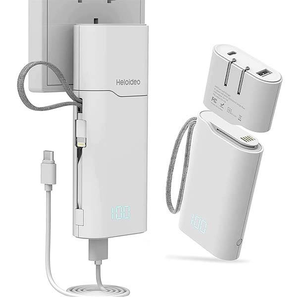 Heloideo USB-C Wall Charger with Detachable Portable Power Bank