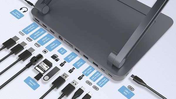 Maotoam Aluminum Laptop Stand with USB-C Hub