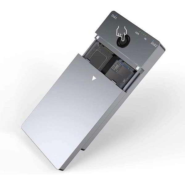Rocketek USB-C Dual-Bay SSD Enclosure for NVMe PCIe M.2 SSD
