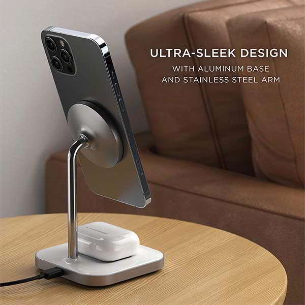 Satechi 2-In-1 Aluminum MagSafe Wireless Charging Dock