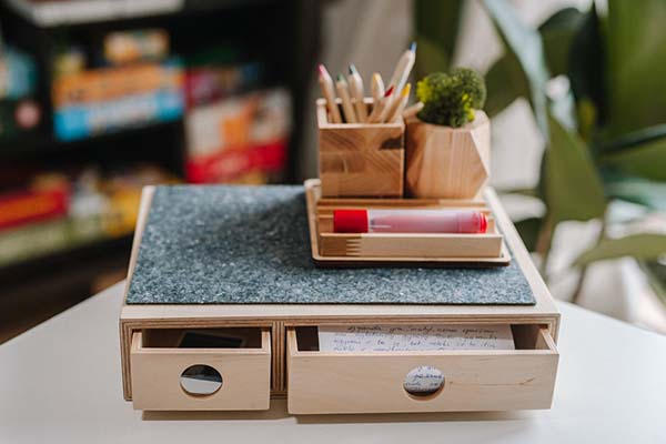 The Handmade Wooden Desktop Organizer with Drawers and Felted Cover