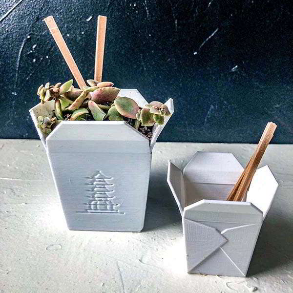 3D Printed Chinese Take-out Planter with Matching Chopsticks