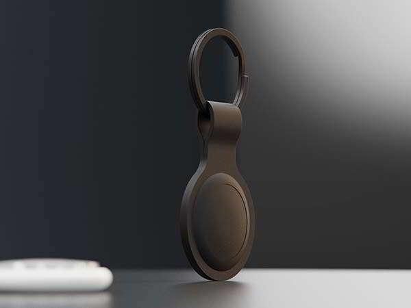 Handmade Apple AirTag Case Built with Slate Stone