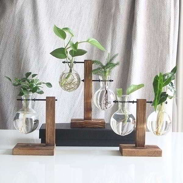 Handmade Glass Planter with Wooden Stand