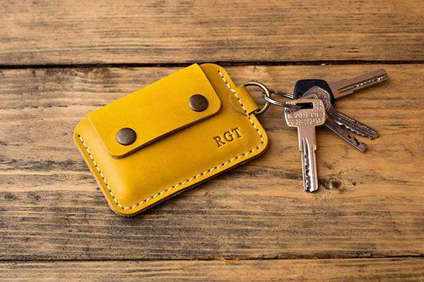 Handmade Leather Keychain Wallet with Personalization