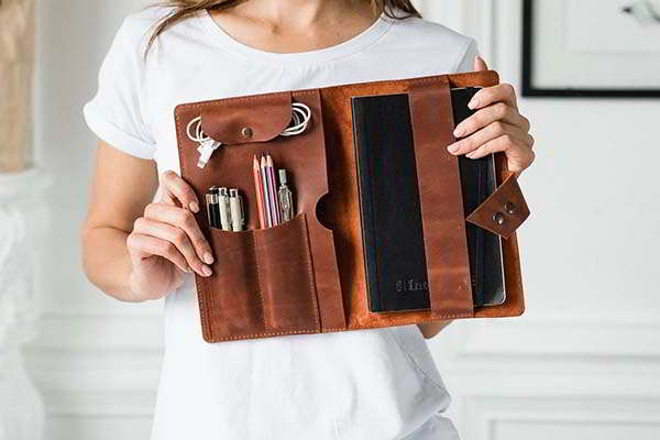Handmade Personalized Leather Notebook Cover with Built-in Organizer