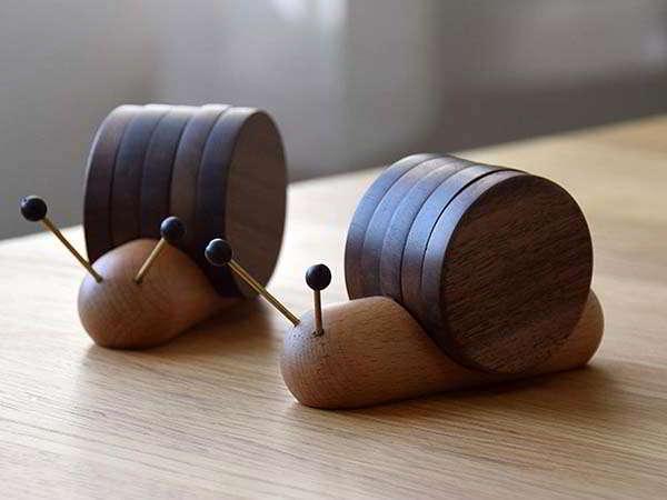 Handmade Snail Wooden Coaster Set