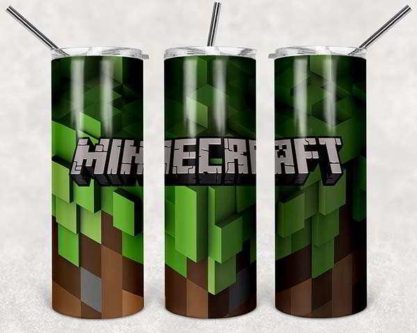 Handmade Stainless Steel Tumbler in Minecraft Theme