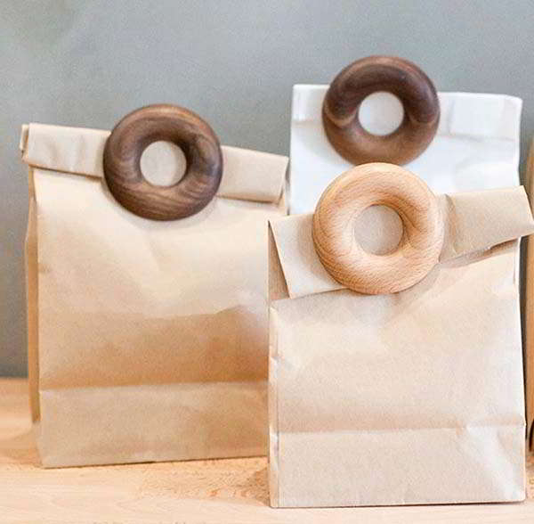 Handmade Wooden Bag Clip Inspired by Donuts