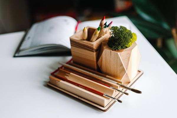 Handmade Wooden Desk Organizer with Succulent Planter