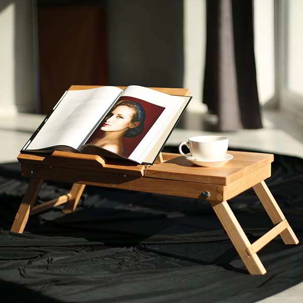 Handmade Wooden Foldable Laptop Desk with Adjustable Desktop